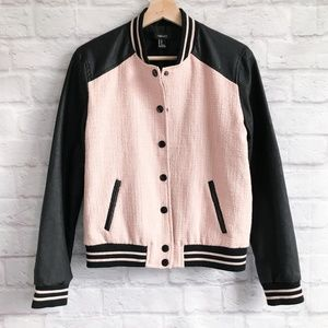 Forever 21 Faux Leather Trimmed Varsity Jacket